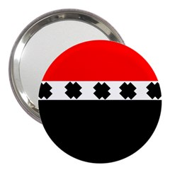 Red, White And Black With X s Design By Celeste Khoncepts 3  Handbag Mirror