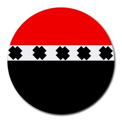 Red, White And Black With X s Electronic Accessories 8  Mouse Pad (round)