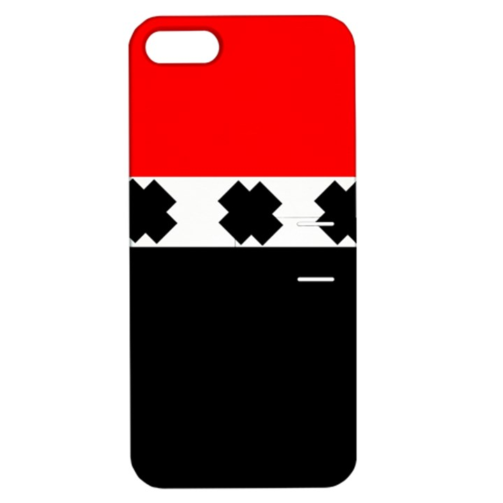 Red, White And Black With X s Electronic Accessories Apple iPhone 5 Hardshell Case with Stand