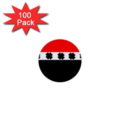 Red, White And Black With X s Design By Celeste Khoncepts 1  Mini Button (100 Pack)