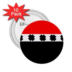 Red, White And Black With X s Design By Celeste Khoncepts 2.25  Button (10 pack)
