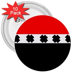 Red, White And Black With X s Design By Celeste Khoncepts 3  Button (10 pack)
