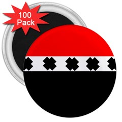 Red, White And Black With X s Design By Celeste Khoncepts 3  Button Magnet (100 Pack)