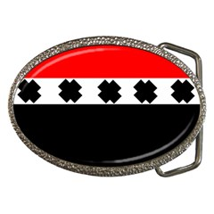 Red, White And Black With X s Design By Celeste Khoncepts Belt Buckle (Oval)