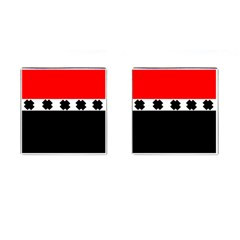Red, White And Black With X s Design By Celeste Khoncepts Cufflinks (square)