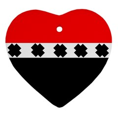 Red, White And Black With X s Design By Celeste Khoncepts Heart Ornament