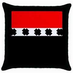 Red, White And Black With X s Design By Celeste Khoncepts Black Throw Pillow Case