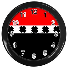 Red, White And Black With X s Design By Celeste Khoncepts Wall Clock (Black)