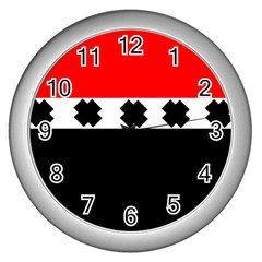 Red, White And Black With X s Design By Celeste Khoncepts Wall Clock (Silver)