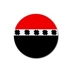 Red, White And Black With X s Design By Celeste Khoncepts Drink Coaster (round)