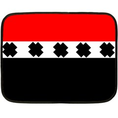 Red, White And Black With X s Design By Celeste Khoncepts Mini Fleece Blanket (Two Sided)