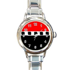 Red, White And Black With X s Design By Celeste Khoncepts Round Italian Charm Watch