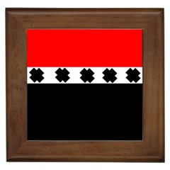 Red, White And Black With X s Design By Celeste Khoncepts Framed Ceramic Tile