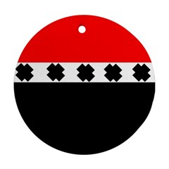 Red, White And Black With X s Design By Celeste Khoncepts Round Ornament
