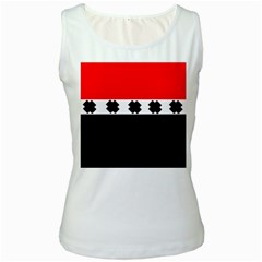 Red, White And Black With X s Design By Celeste Khoncepts Women s Tank Top (White)