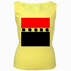 Red, White And Black With X s Design By Celeste Khoncepts Women s Tank Top (Yellow)