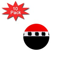 Red, White And Black With X s Design By Celeste Khoncepts 1  Mini Button Magnet (10 pack)