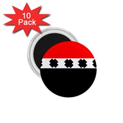 Red, White And Black With X s Design By Celeste Khoncepts 1.75  Button Magnet (10 pack)