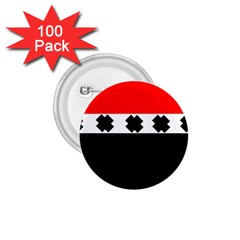 Red, White And Black With X s Design By Celeste Khoncepts 1 75  Button (100 Pack)