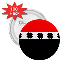 Red, White And Black With X s Design By Celeste Khoncepts 2 25  Button (100 Pack)