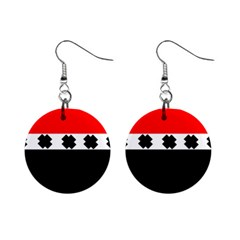 Red, White And Black With X s Design By Celeste Khoncepts Mini Button Earrings
