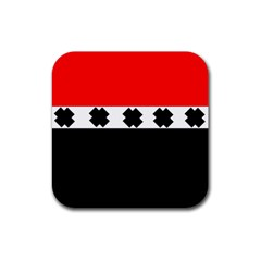 Red, White And Black With X s Design By Celeste Khoncepts Drink Coaster (Square)