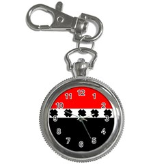 Red, White And Black With X s Design By Celeste Khoncepts Key Chain Watch