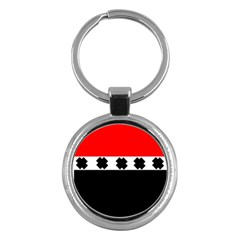 Red, White And Black With X s Design By Celeste Khoncepts Key Chain (Round)