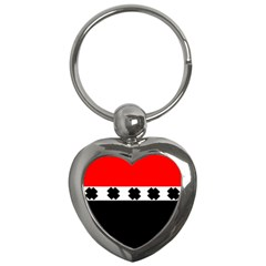 Red, White And Black With X s Design By Celeste Khoncepts Key Chain (Heart)