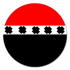 Red, White And Black With X s Design By Celeste Khoncepts Magnet 5  (Round)