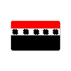 Red, White And Black With X s Design By Celeste Khoncepts Magnet (Name Card)