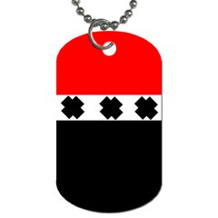 Red, White And Black With X s Design By Celeste Khoncepts Dog Tag (Two-sided)