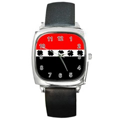 Red, White And Black With X s Design By Celeste Khoncepts Square Leather Watch