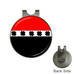 Red, White And Black With X s Design By Celeste Khoncepts Hat Clip with Golf Ball Marker