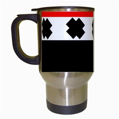 Red, White And Black With X s Design By Celeste Khoncepts Travel Mug (White)