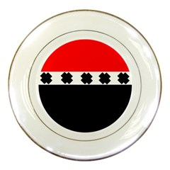 Red, White And Black With X s Design By Celeste Khoncepts Porcelain Display Plate