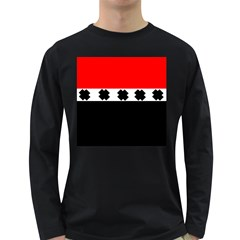 Red, White And Black With X s Design By Celeste Khoncepts Men s Long Sleeve T-shirt (Dark Colored)