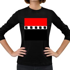 Red, White And Black With X s Design By Celeste Khoncepts Women s Long Sleeve T Shirt (dark Colored)