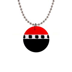 Red, White And Black With X s Design By Celeste Khoncepts Button Necklace