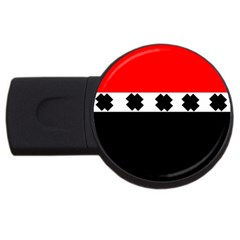 Red, White And Black With X s Design By Celeste Khoncepts 4gb Usb Flash Drive (round)