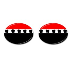 Red, White And Black With X s Design By Celeste Khoncepts Cufflinks (Oval)