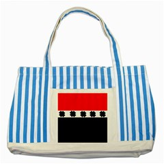 Red, White And Black With X s Design By Celeste Khoncepts Blue Striped Tote Bag