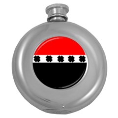 Red, White And Black With X s Design By Celeste Khoncepts Hip Flask (round)
