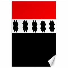Red, White And Black With X s Design By Celeste Khoncepts Canvas 24  x 36  (Unframed)