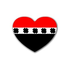 Red, White And Black With X s Design By Celeste Khoncepts Drink Coasters (Heart)