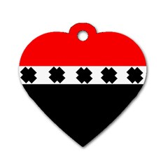 Red, White And Black With X s Design By Celeste Khoncepts Dog Tag Heart (one Sided)