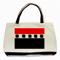 Red, White And Black With X s Design By Celeste Khoncepts Twin Sided Black Tote Bag
