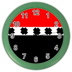 Red, White And Black With X s Design By Celeste Khoncepts Wall Clock (Color)