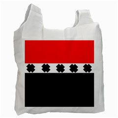 Red, White And Black With X s Design By Celeste Khoncepts White Reusable Bag (one Side)