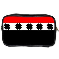Red, White And Black With X s Design By Celeste Khoncepts Travel Toiletry Bag (Two Sides)
